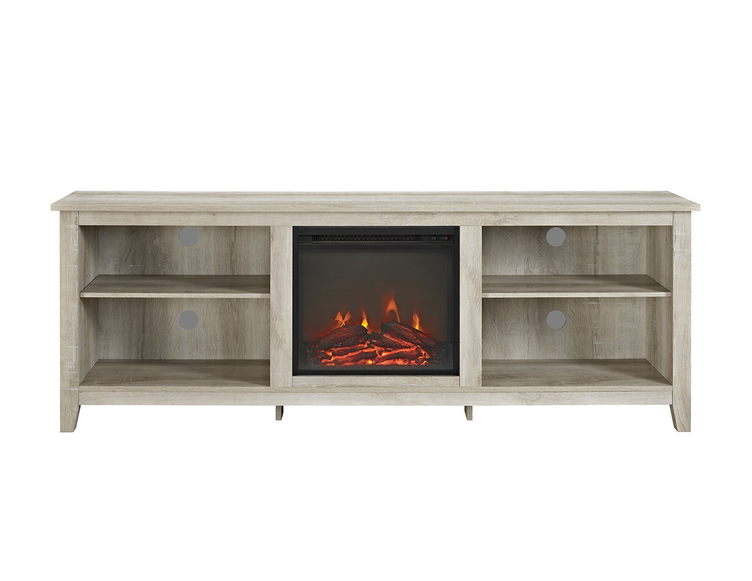 WE Furniture 70 Wood Media TV Stand Console with Fireplace