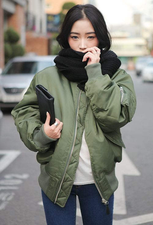 STYLENANDA] ZIP UP BOMBER JACKET: | Luxe Asian Women Design Korean ...