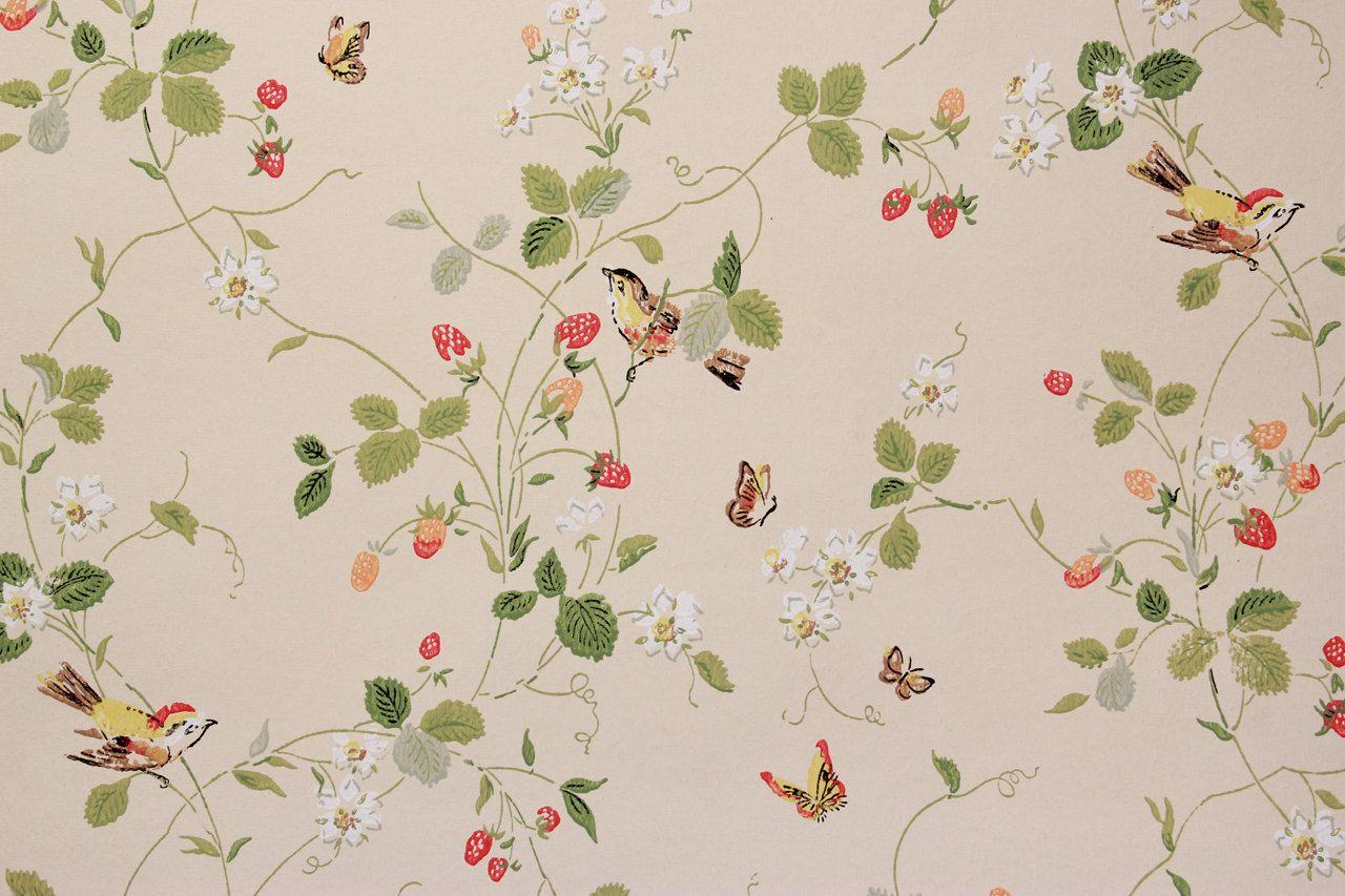 Yellow Strawberry Floral Wallpaper Border