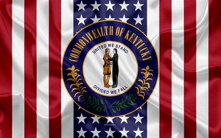 Download Wallpapers Kentucky Usa 4k American State Seal Of Kentucky Silk Texture Us States Emblem States Seal American Flag Besthqwallpapers Com Kentucky Estados Dos Estados Unidos Bandeira Americana