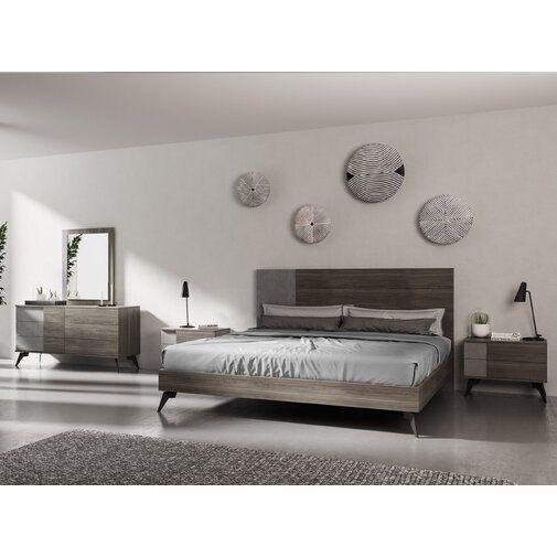 bayport italian modern platform 5 piece bedroom set  5