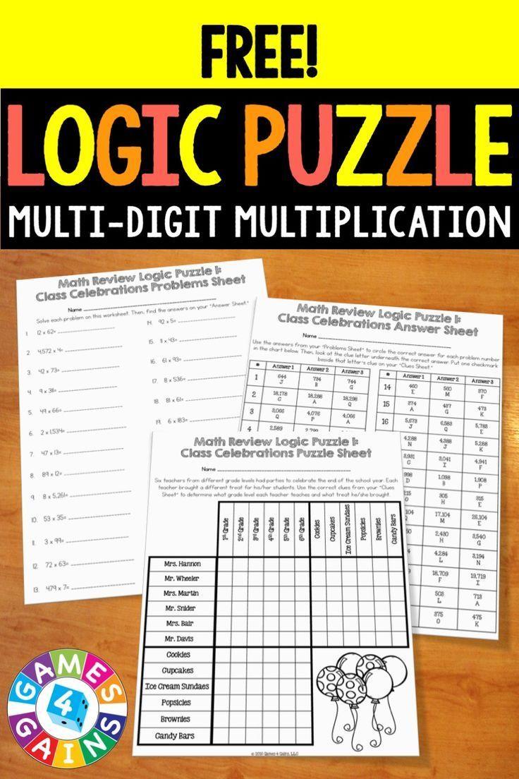 free multi digit multiplication logic puzzle 4 nbt 5 5 nbt 5 math puzzles actividades de. Black Bedroom Furniture Sets. Home Design Ideas
