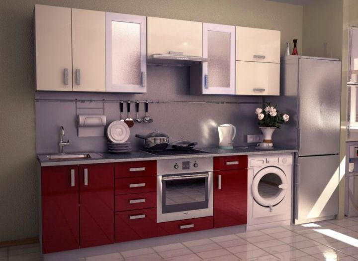 Modular Kitchen Designs In Red And Washing Machine For Small Classy Compact Modular Kitchen Designs Review