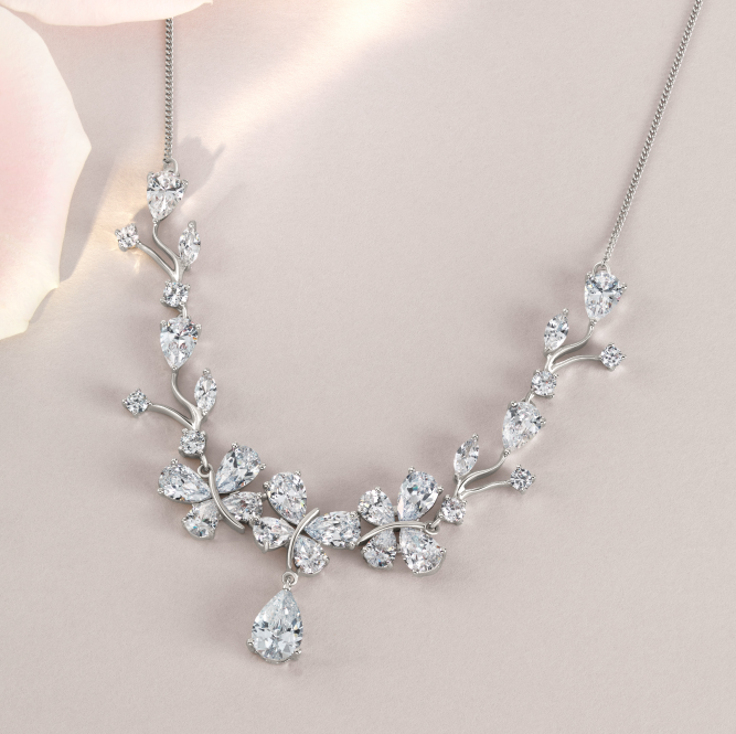 The Jon Richard Butterfly Collection Crystal Butterflies Form This Sweet And Sparkling Bridal Necklace Bridal Necklace Wedding Jewellery Collection Jewelry