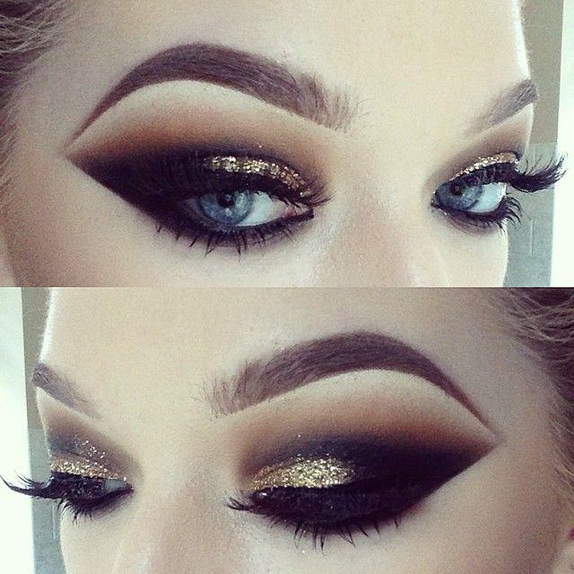 Gold Glitter Smokey Eye Close Up Eye Makeup Makeup Dramatic