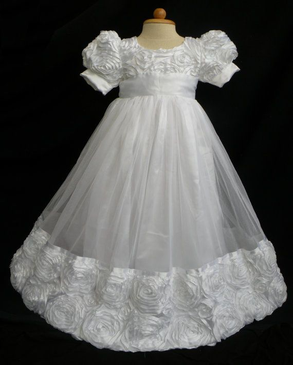 e575eacf6631 High Quality Rosette and Tulle Christening Gown