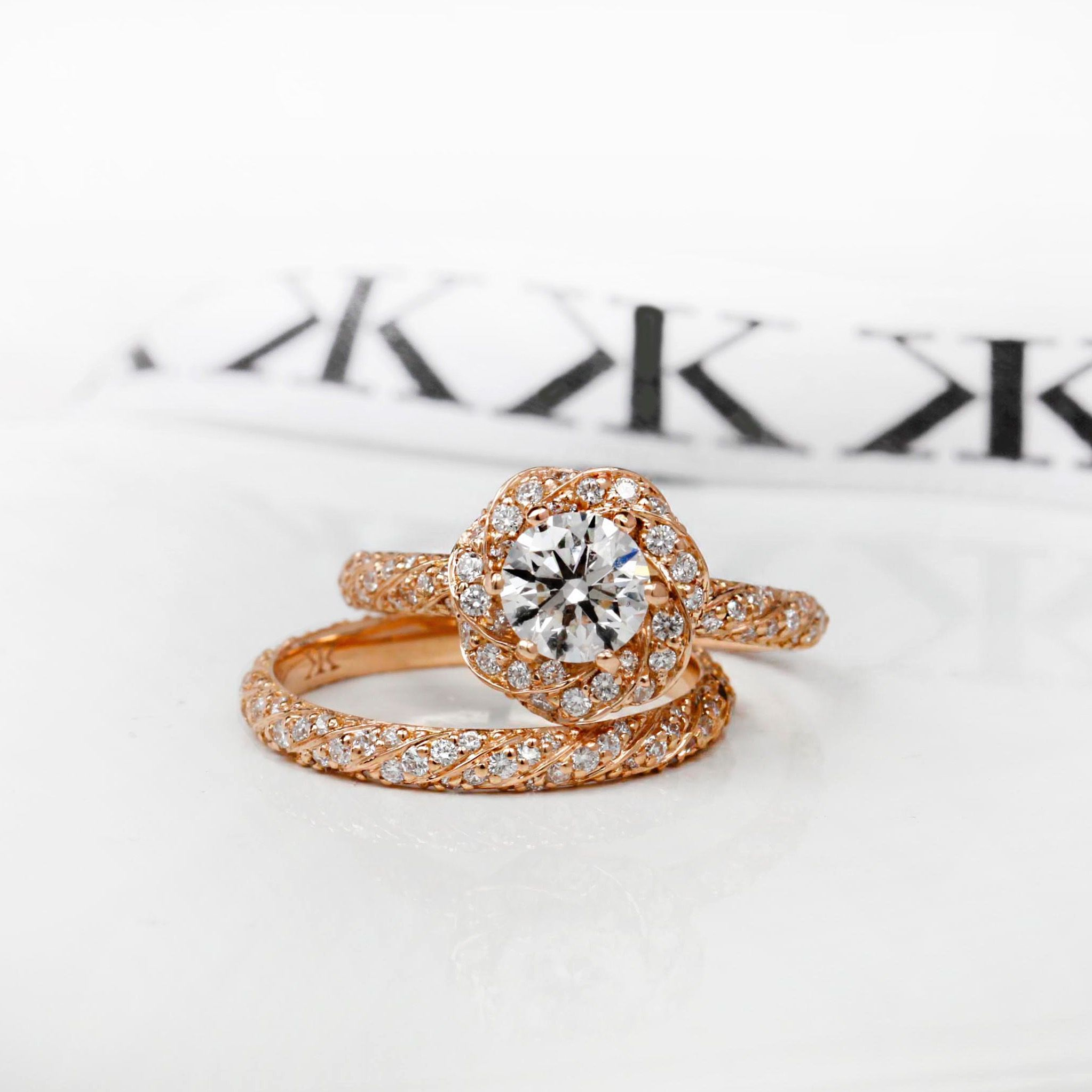 Custom made rose gold diamond engagement ring bykalfinjewellery