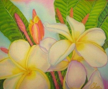 Silk Plumerias by Charlotte Campbell