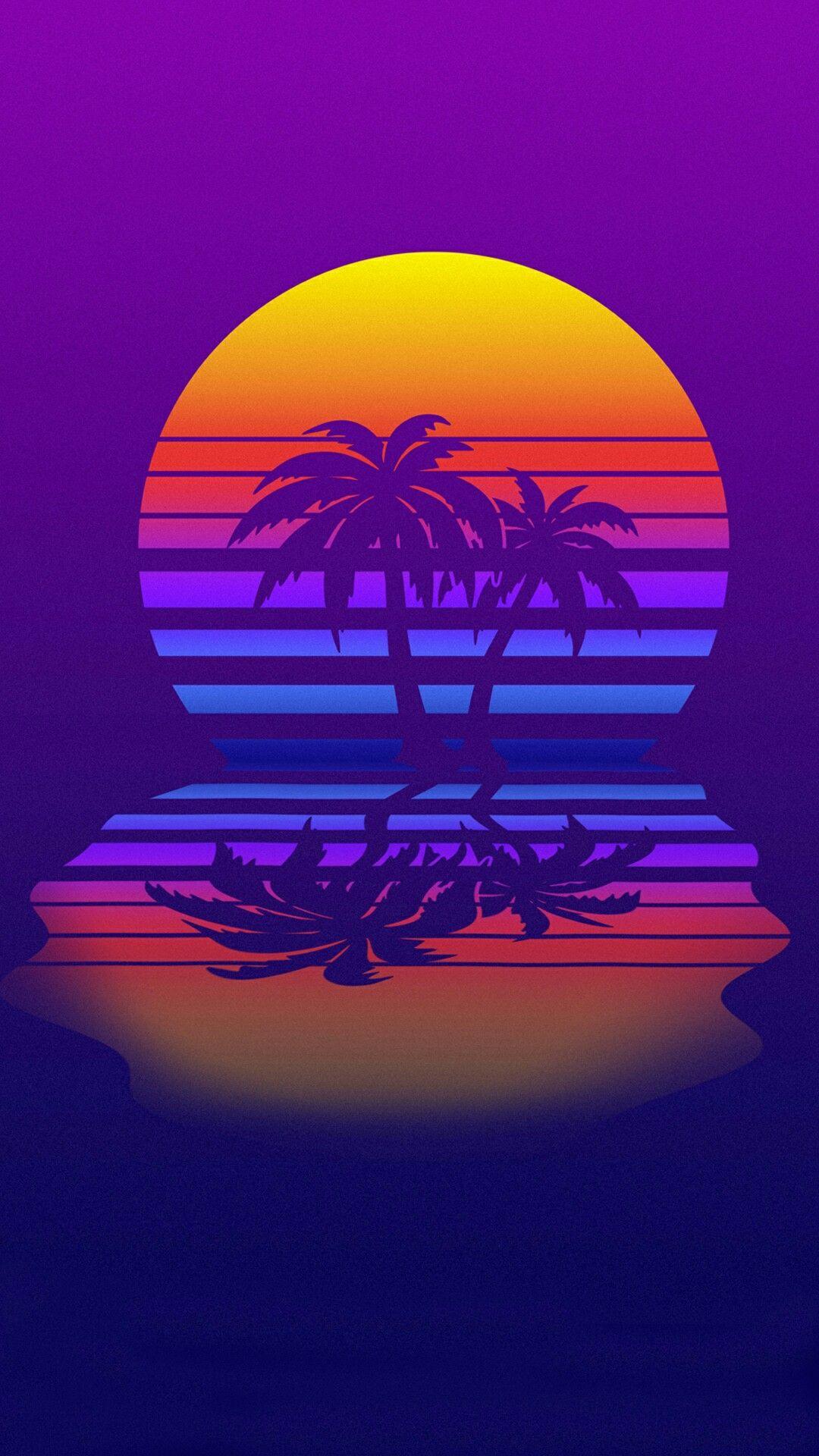 retrowave Vaporwave wallpaper, Palm trees wallpaper