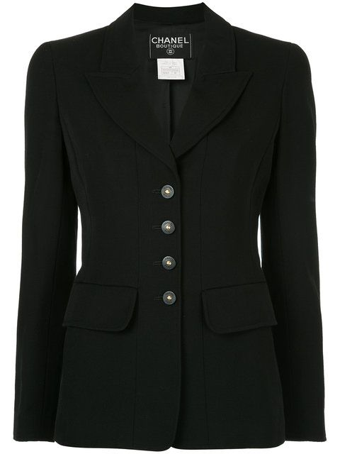 Chanel Vintage pointed lapels fitted blazer
