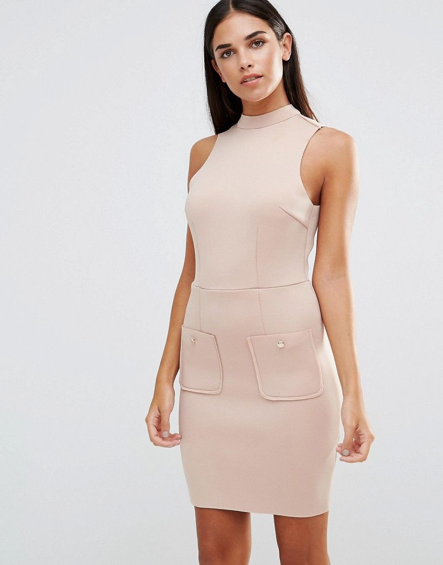 Just beautiful AX Paris Mini Scuba Bodycon Dress - Beige - http ...