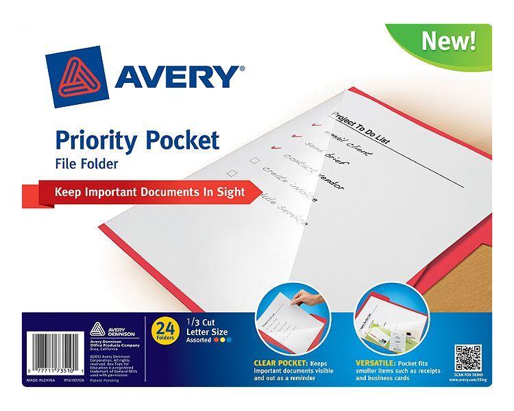 avery priority pocket file folder item ave73510 assorted