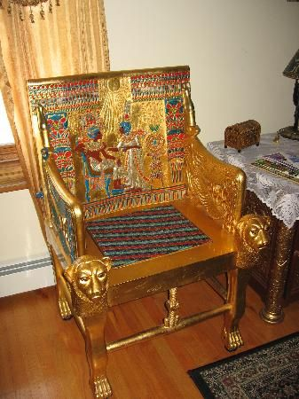 Egyptian style chair, The Lion and the Rose Bed and Breakfast, Whitefield N.H.