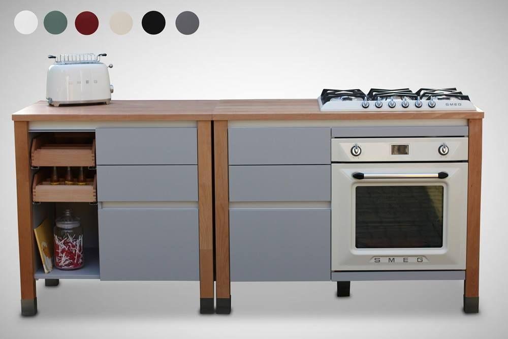 modulk chen bloc smeg cortina design k chenmodule massivholzschubl den retro toaster buche. Black Bedroom Furniture Sets. Home Design Ideas