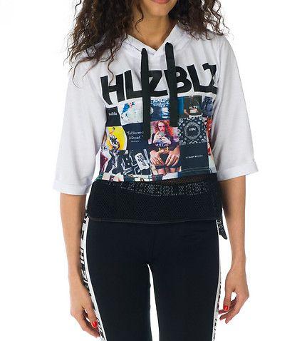 HELLZ BELLZ Bad Bitch terry hoodie Three quarter sleeves design Adjustable drawstring on hood Mesh detail