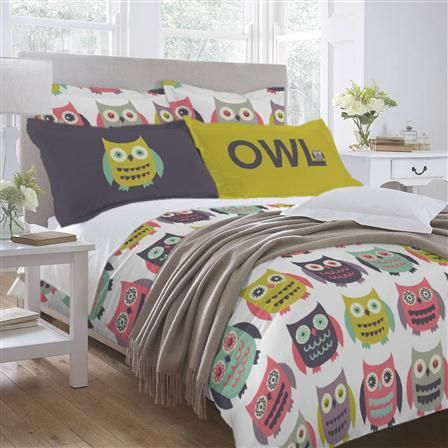 Copripiumino Con Gufi.Little W Owls Single Duvet Cover Set Cuscino Trapuntato Cuscini