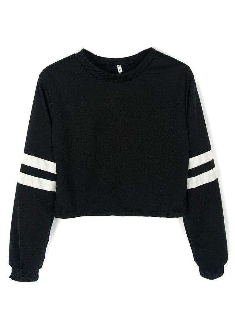 aa7273f916e Joeoy Women's Casual Striped Long Sleeve Crop Top Sweatshirt Black-S ...