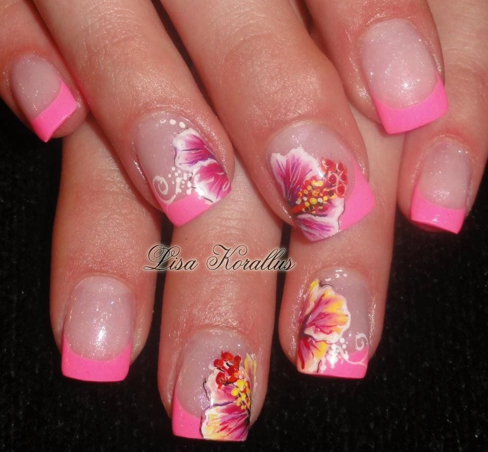 Sculpted Gel Enhancement With Hand Painted Hibiscus Flowers Floralnaildesign Floralnailart Roses Flo Floral Nail Designs French Nail Designs Flower Nails