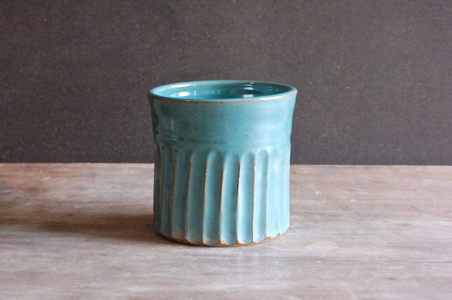 Stoneware Utensil Crock Kitchen Counter Spoon Holder Jar Ceramics ...
