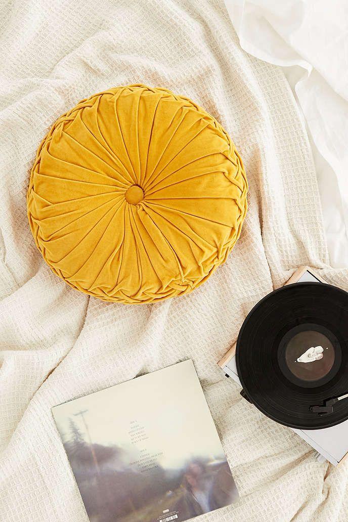 Round Pintuck Pillow | Pillows, Yellow