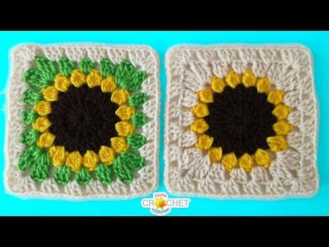 Sunflower Granny Square Crochet - Pattern Tutorial & How To ...
