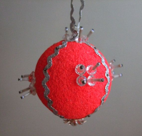 Vintage Christmas Ornament Ball Silver Red by jessamyjay on Etsy, $3.00