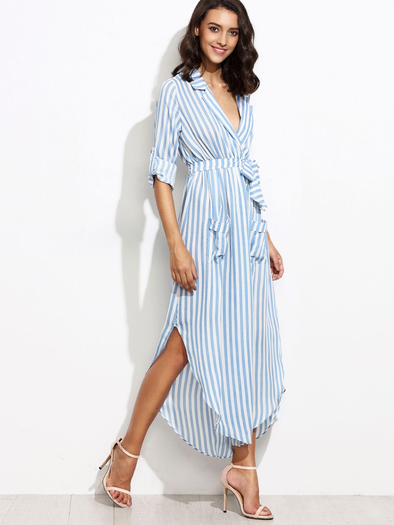 f9f328be79 Shop Contrast Vertical Striped Self Tie Shirt Dress online. SheIn ...