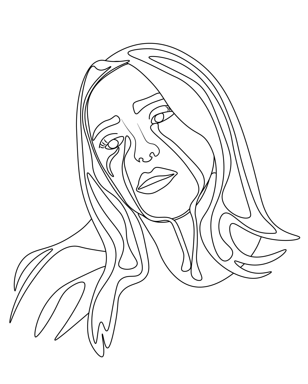 Billie Eilish Etsy Print In 2020 Line Art Drawings Art Line Drawing