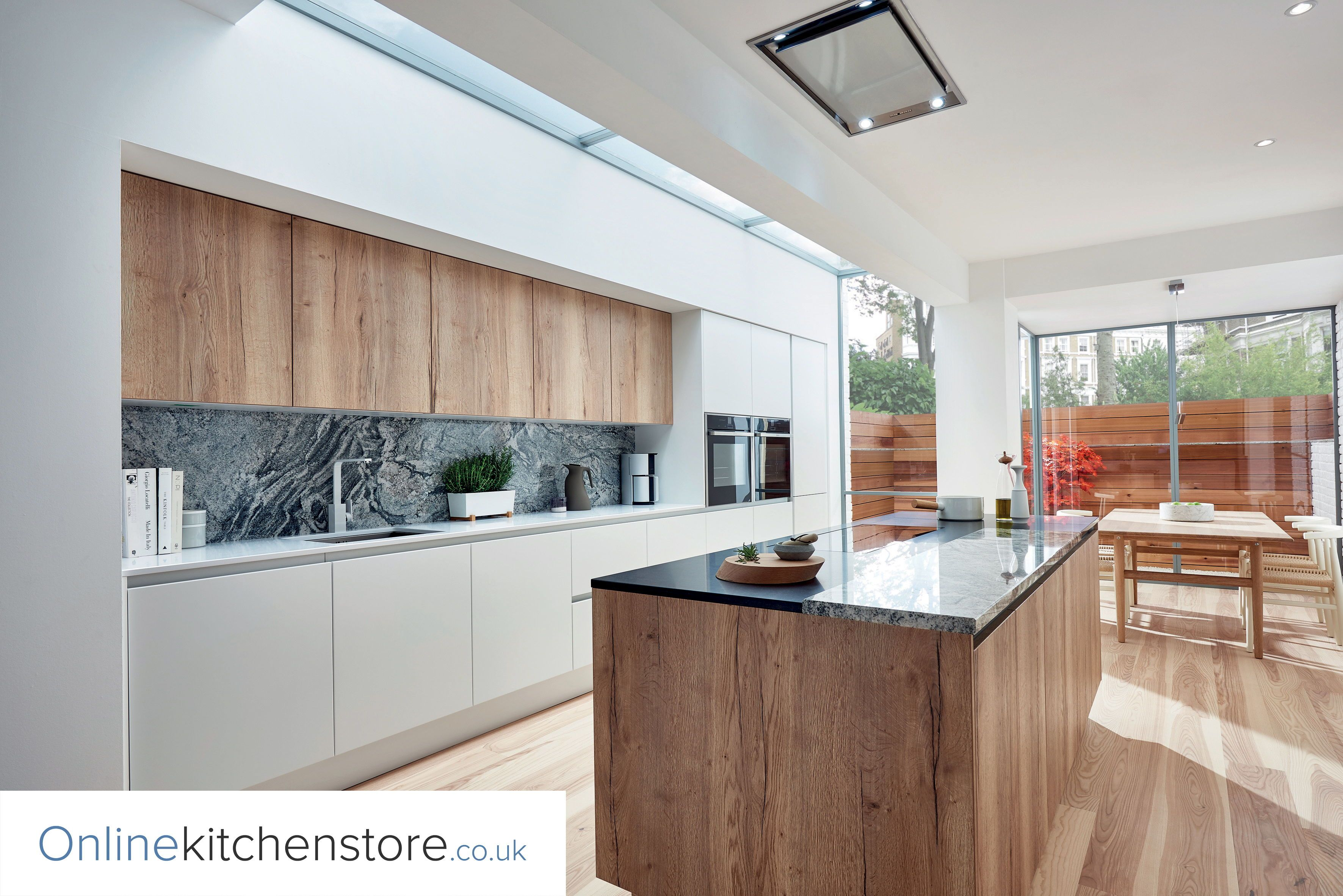 Porter Matt White And Reclaimed Oak Handleless Rail Doors Contemporary Oak Kitchen Contemporary Kitchen Minimalist Kitchen