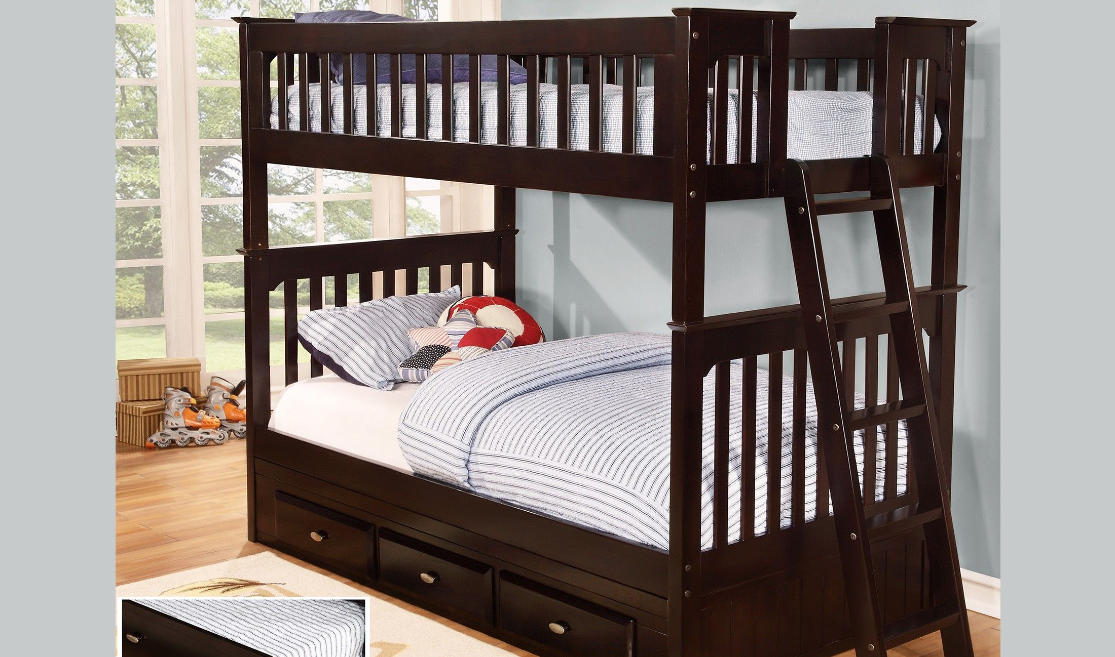 Discovery World Furniture Espresso Twin Over Twin Mission Bunk Bed