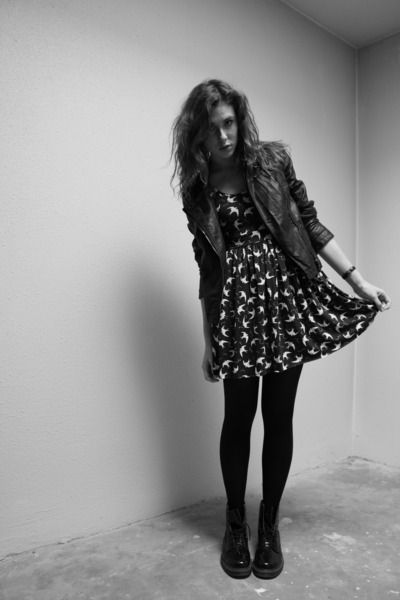 Love the dress, the jacket and the DMs. Overall perfection.