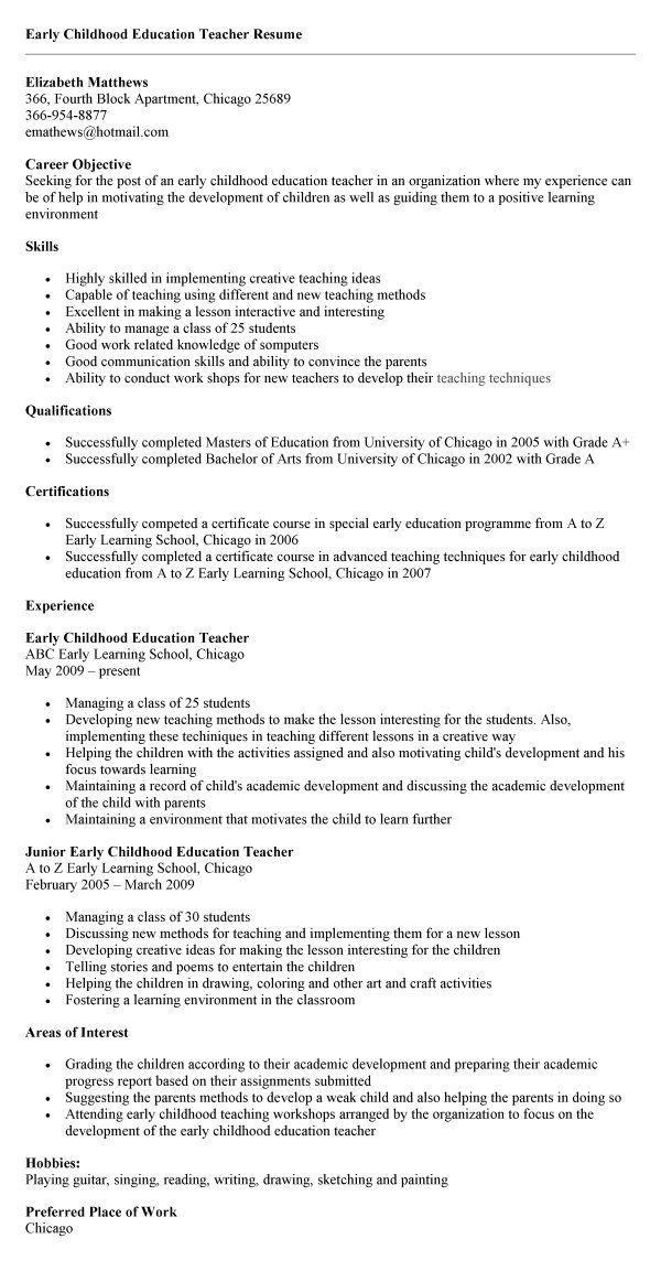 Early Childhood Education Sample Resume Early Childhood Education