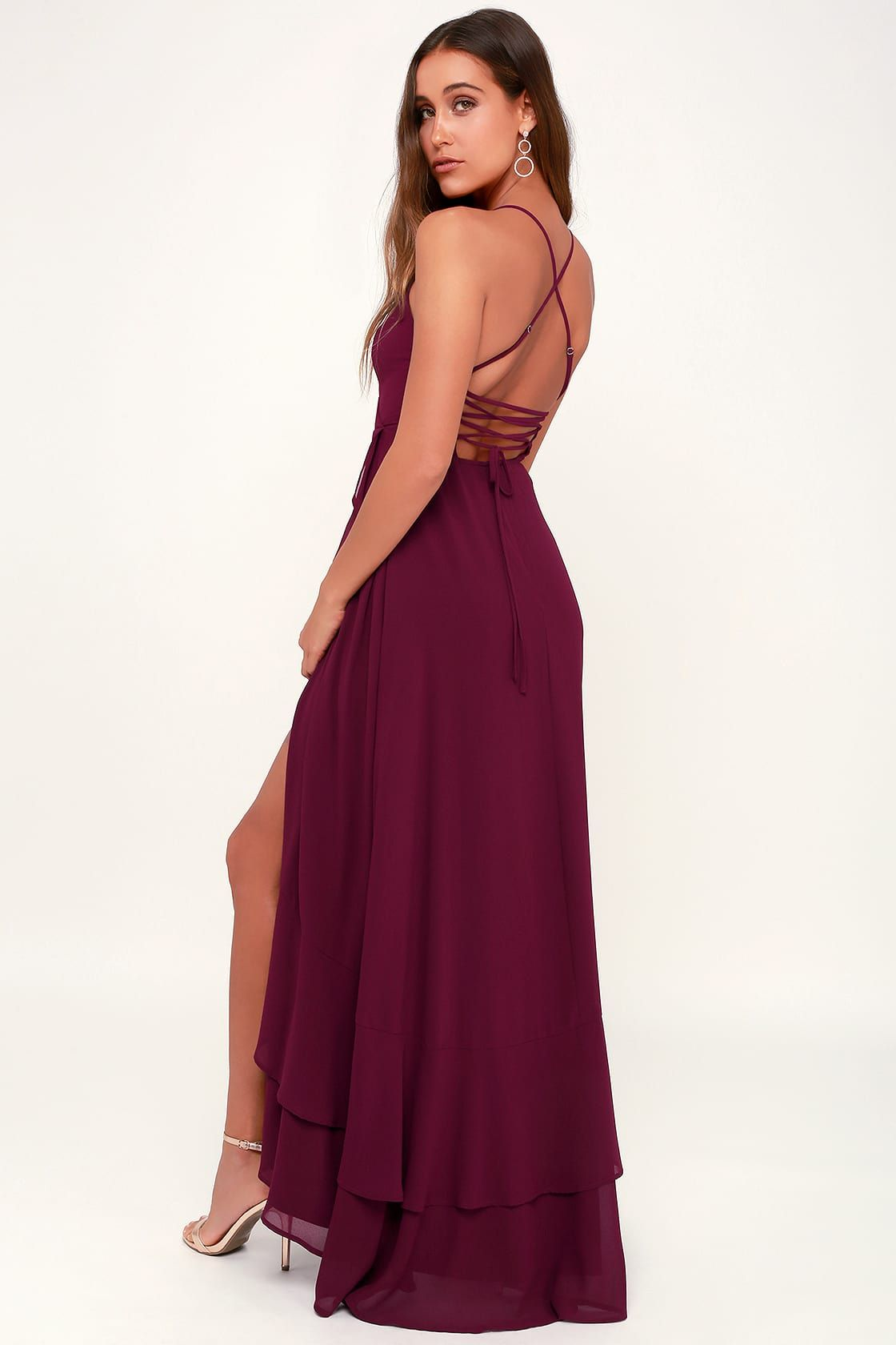 0239c5d472b In Love Forever Burgundy Lace-Up High-Low Maxi Dress