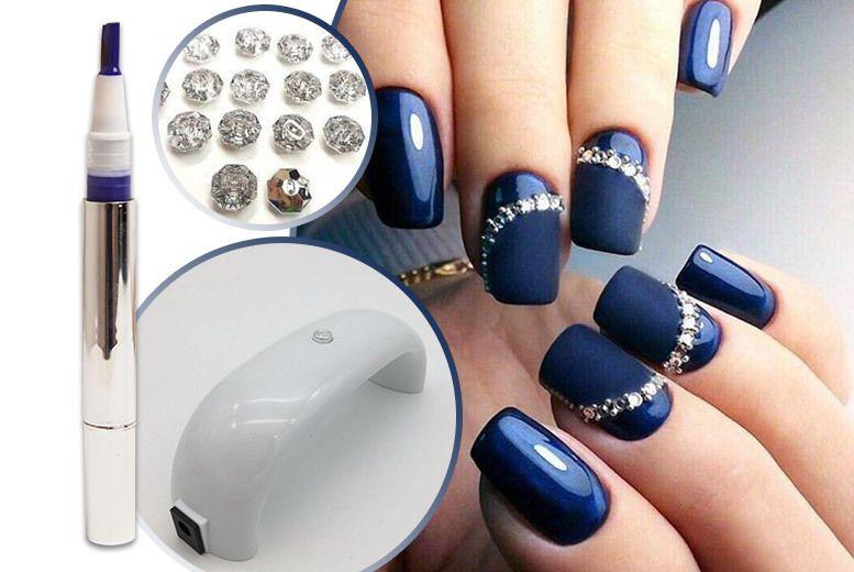 UV LED Nail Lamp & Diamante Navy Gel Nails Kit   Beauty   Pinterest ...