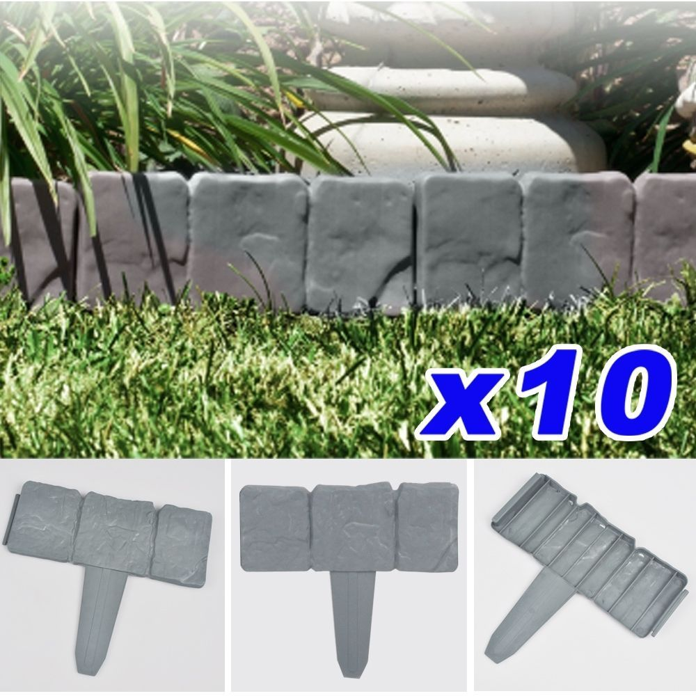 10x10 Pack Cobbled Stone Effect Plastic Garden Lawn Edging Palisade Plant  Border
