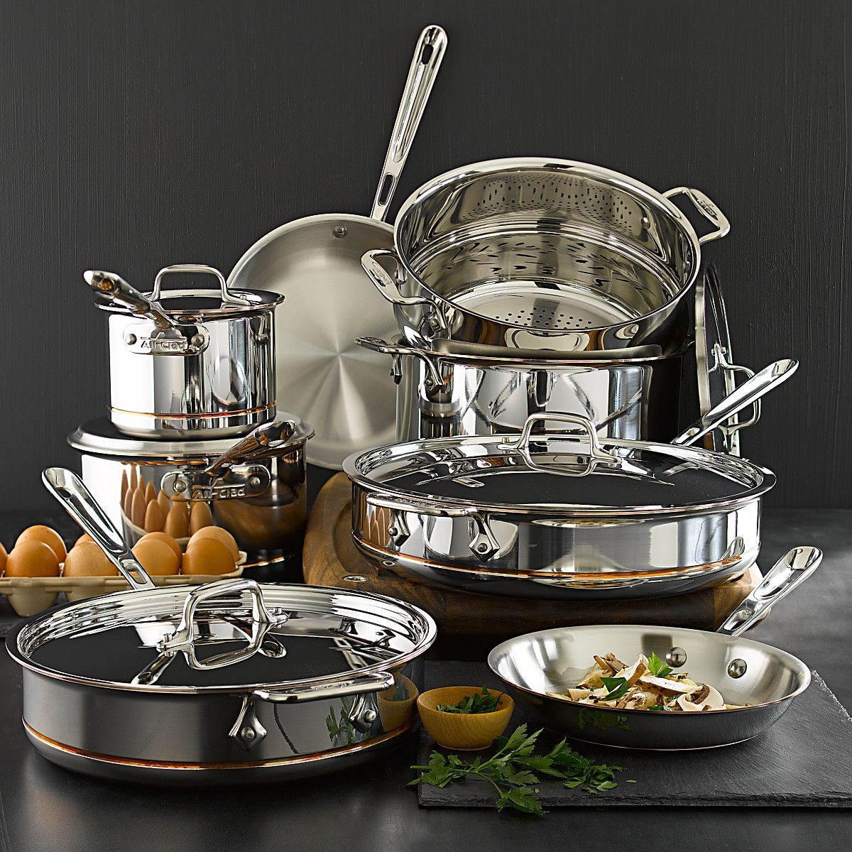 AllClad Copper Core 13 Piece Cookware Set Bloomingdales Dishes