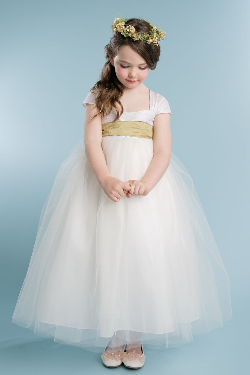 Stunning Raw Silk Flower Girl Dress With Four Layers Of Tulle And
