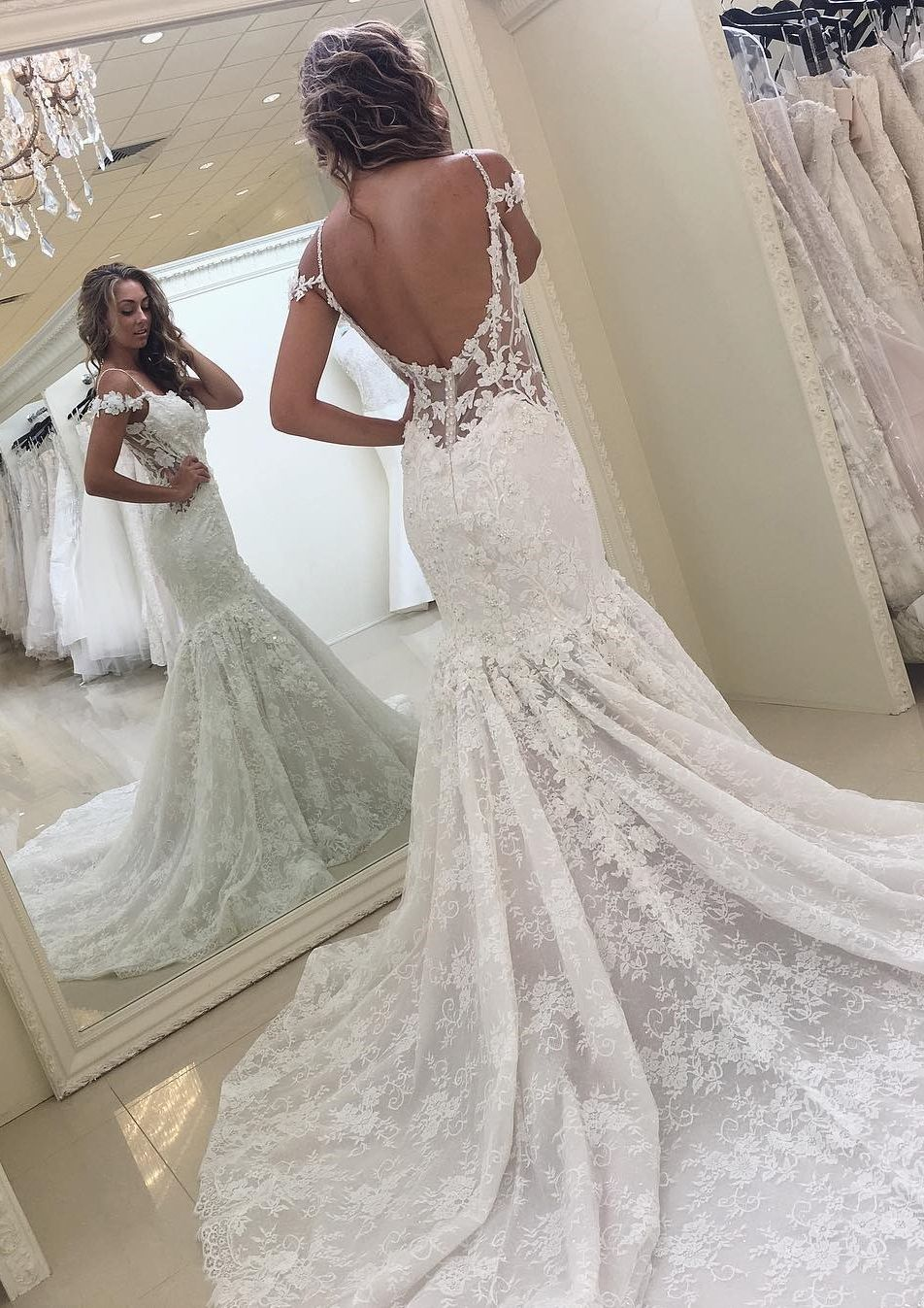 White Off The Shoulder Mermaid Lace Modern Wedding Dress Lace Wedding Dress Vintage Bridal Dresses Lace Wedding Dresses Lace [ 1347 x 952 Pixel ]