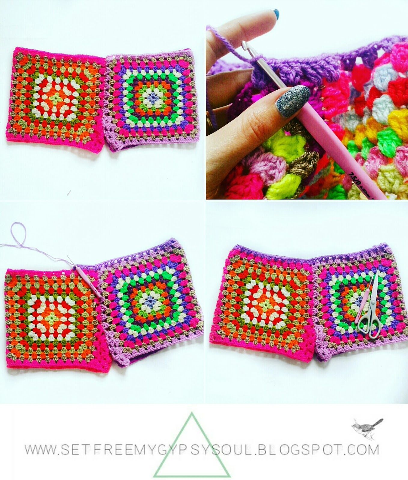 Granny square crochet shorts crochet granny granny squares and free dt1010fo