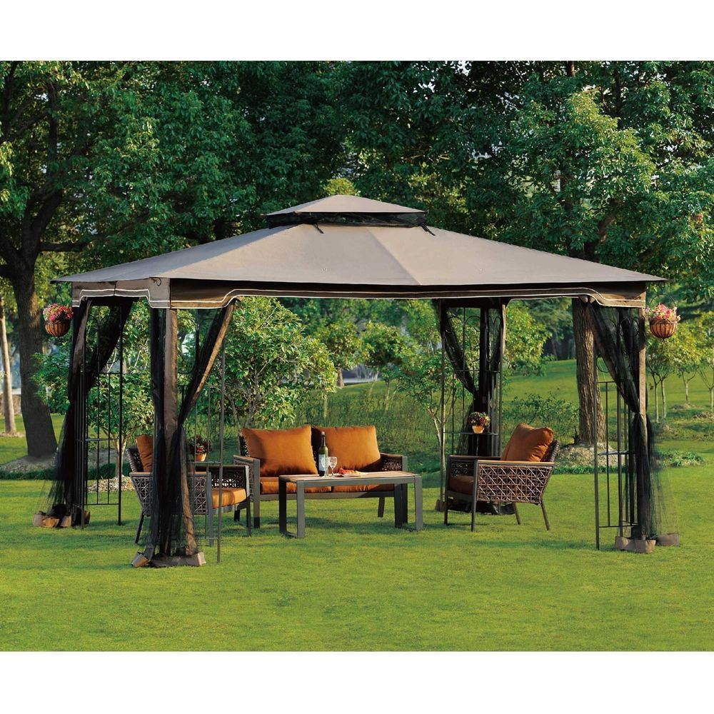 10u0027 X 12u0027 Regency II Gazebo Patio Canopy With Mosquito Netting