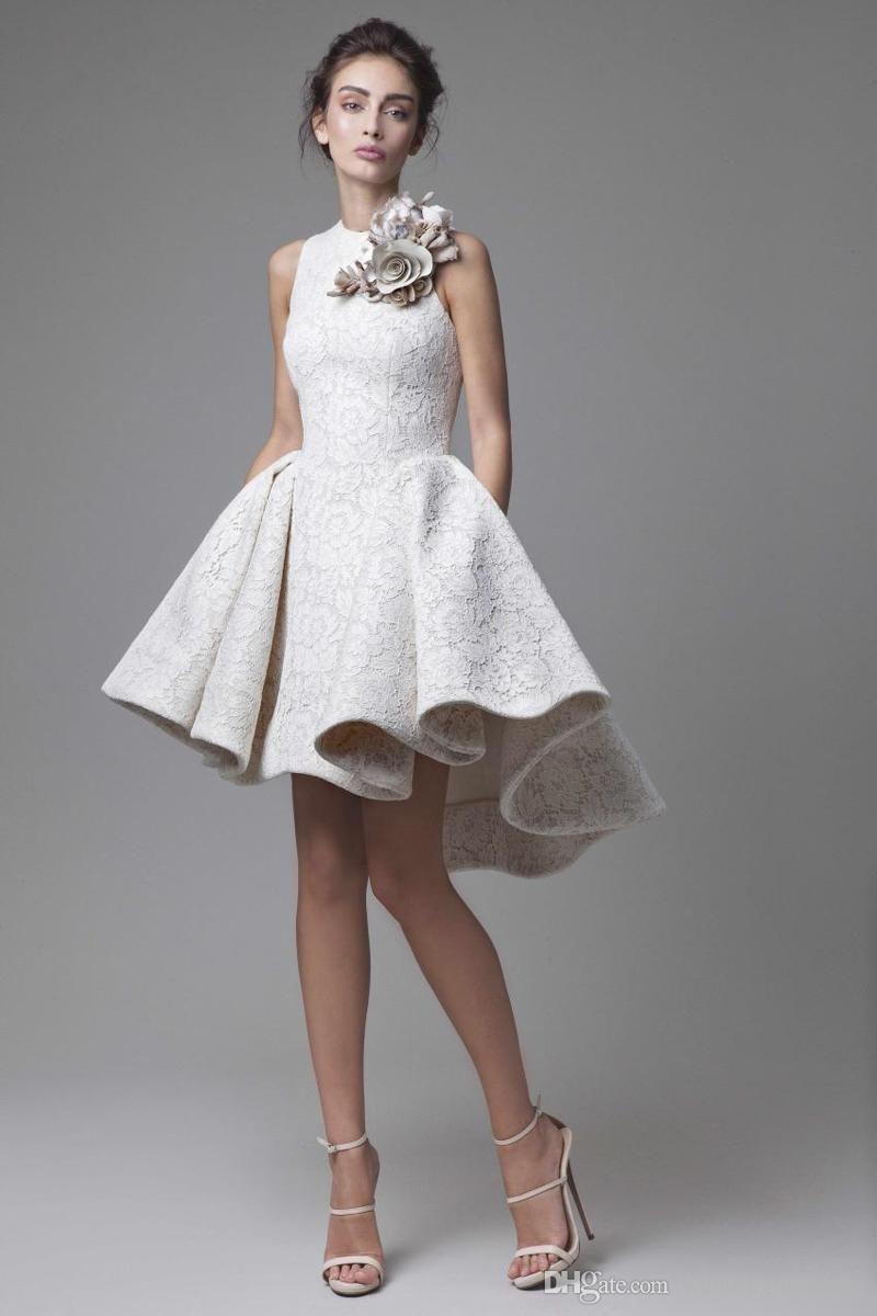 Best wedding dresses for short waisted   Lace Wedding Dresses Krikor Jabotian Jewel Sleeveless High Low