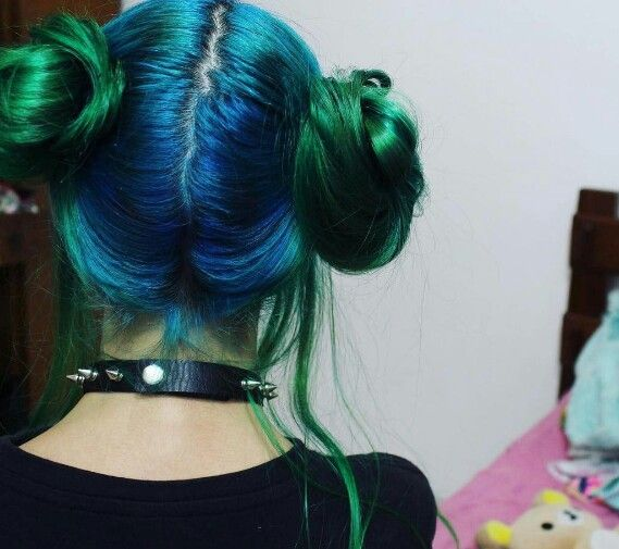 blue and green hairs hair