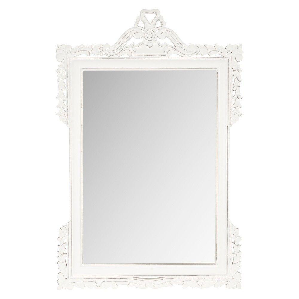 Rectangle Pedimint Decorative Wall Mirror White - Safavieh