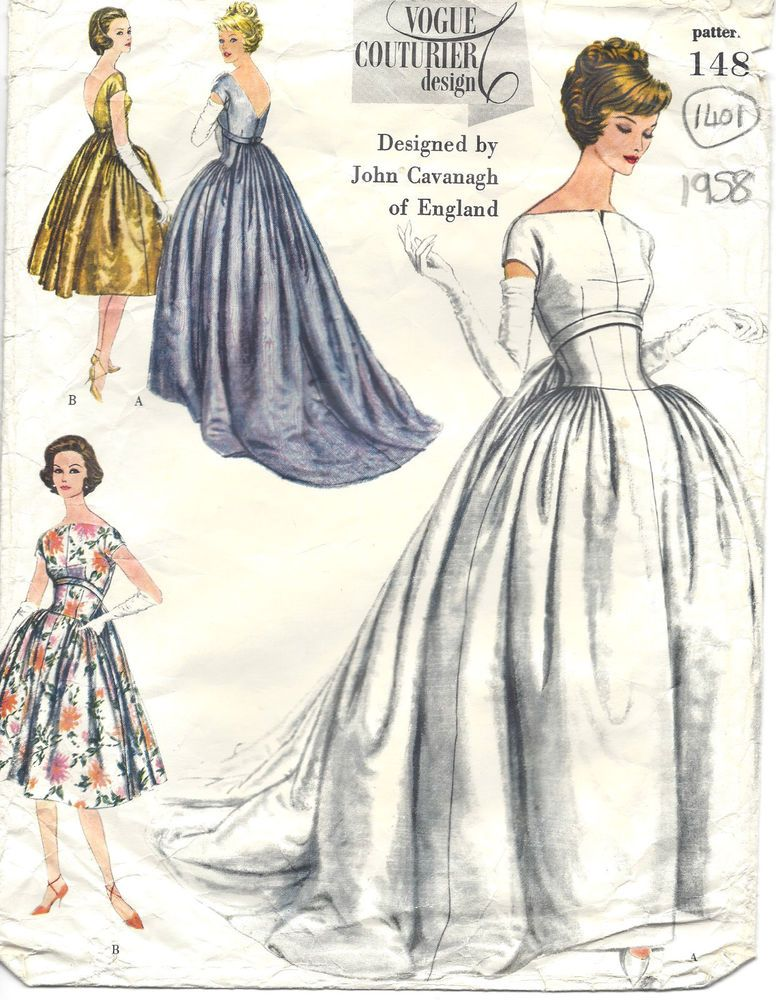 1958 Vintage VOGUE Sewing Pattern B34 EVENING DRESS GOWN (1401R ...
