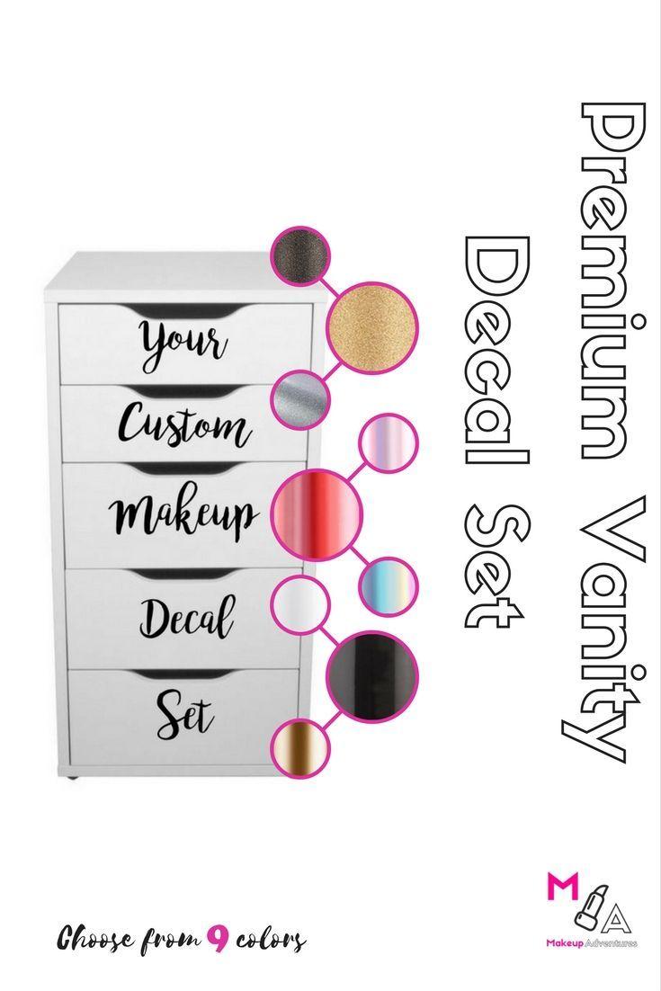 Premium vanity set custom makeup vanity stickers decals makeup