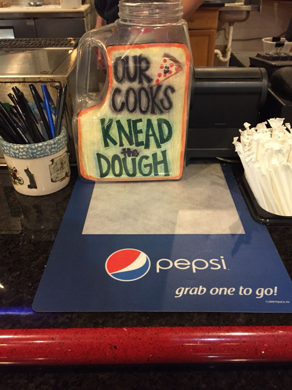 Funny Tip Jar Our Cooks Knead The Dough Pizza Tipjar Funnyideas Funny Tip Jars Tip Jars Funny Tips