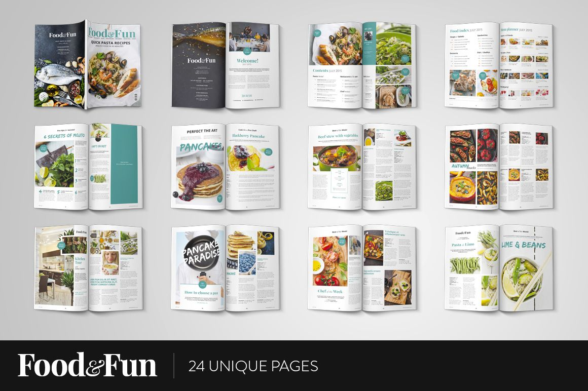 Food&Fun Magazine InDesign Template by Mate Toth on Creative Market ...