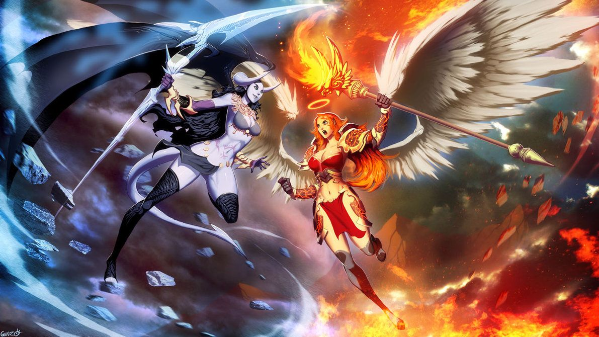 Ice Demon vs Fire Angel by *GENZOMAN on deviantART Anime