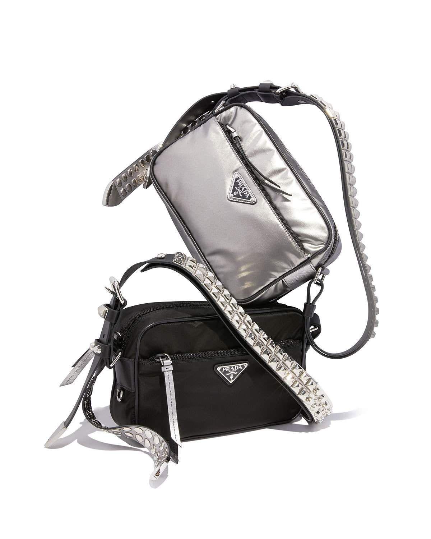 Prada Prada Black Nylon Shoulder Bag with Studding 124ae09d7caf0