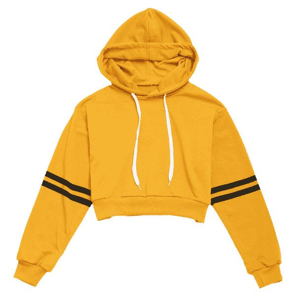 d797759ce28 Striped Sleeve Crop Hoodie ($24) ❤ liked on Polyvore featuring tops, hoodies,  striped hooded sweatshirt, cropped hoodie, yellow hoodies, hoodie crop top  ...